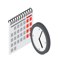 flip calendar and wall clock in flat style vector image