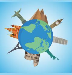 pyramid pisa tower statue of liberty big ben vector image vector image