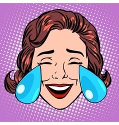 Retro Emoji tears of joy woman face vector image