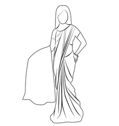 Saree outline vector image