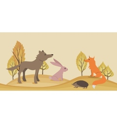 Seamless horizontal landscape with animals vector