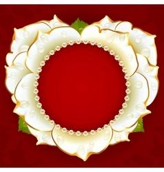 white Rose heart frame vector image