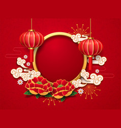 2019 new year template chinese lantern flowers vector image