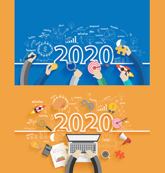 2020 new year business success creative drawing vector image