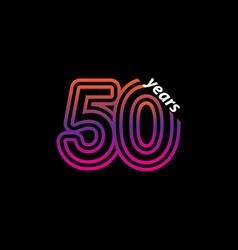 50 years anniversary celebration line color retro vector