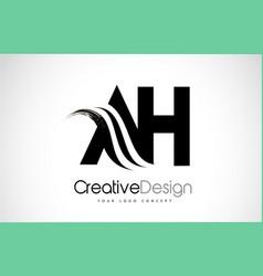 ah a h creative brush black letters design vector image