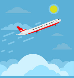 Airplane flying in sky above clouds higher and vector