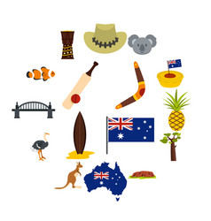 australia travel icons set in flat style vector image