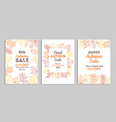 autumn sale banners fall advertising vouchers vector image