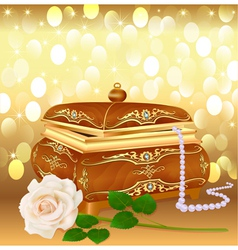 Background casket with pearls vector