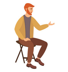 Bearded man sitting on chair and pointing vector