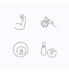 Billiards bowling and fitness sport icons vector image
