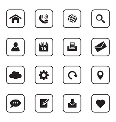 Black flat web and technology icon set vector