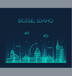 boise idaho skyline usa linear style city vector image