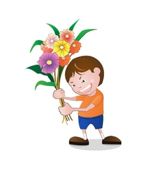Boy holding flowers vector image vector image