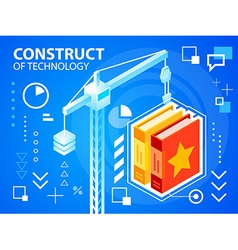 Bright construct crine and books on blue bac vector
