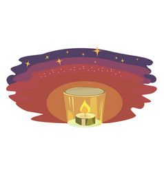 burning candle in the dark with stars on sky free vector image