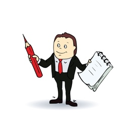 Cartoon person with blank spiral notepad and a vector image