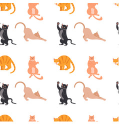 cat characters seamless pattern vector image