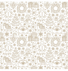 christmas new year seamless pattern line vector image