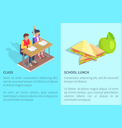 class with two students and apple near sandwich vector image