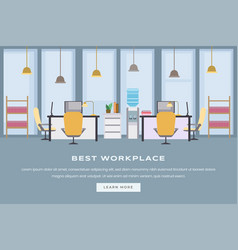 coworking workspace landing page flat template vector image