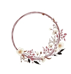 Cute floral round frame Hand drawing vector