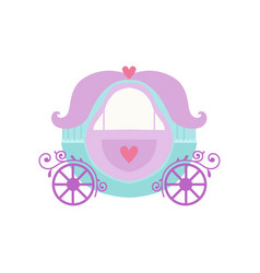 cute princess fairytale fantasy carriage cartoon vector image