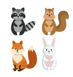 cute wild animal nature fauna set image vector image