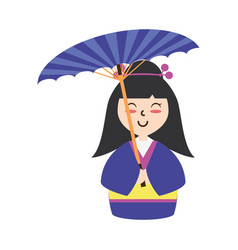 Cute woman japanese cartoon vector