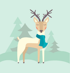 Deer and forest vector