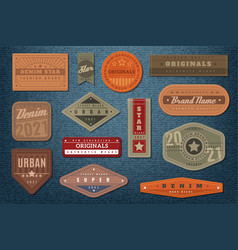 denim labels graphic leather badge and textured vector image