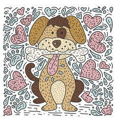 dog with a bone and hearts vector image