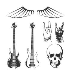 Elements for rock music recording studios vector image