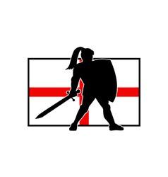 English knight shield sword england flag retro vector