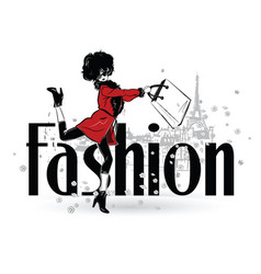 fashion girl in sketch-style fashion woman vector image