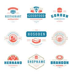 fast food logos set good vector image