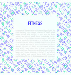 Fitness concept with thin line icons vector
