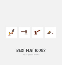 Flat icon court set of court justice legal and vector