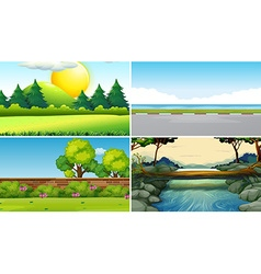 Four different scenes at daytime vector