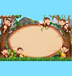 frame design with many monkeys around border vector image