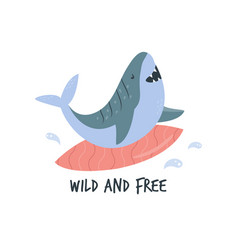 Funny cartoon surfing shark in a flat style vector