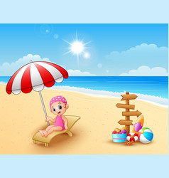 Girl relaxing on the beach chair vector