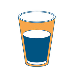 glass of milk color section silhouette on white vector image