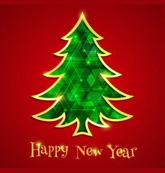 Glowing emerald christmas tree isolated on the red vector