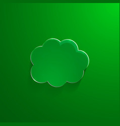 Green eco glossy glass cloud icon vector image