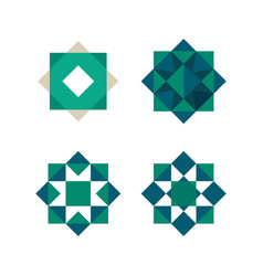 green triangles and squares shape abstract vector image