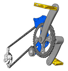 Grey crank set for bike with yellow pedals on vector