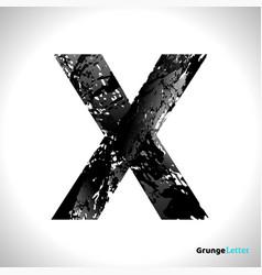 grunge letter x black font sketch style symbol vector image