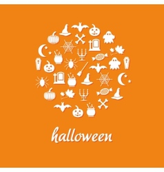 halloween icons in circle vector image